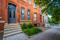 Historic brick row houses in Bolton Hill, Baltimore, Maryland.  royalty free stock image