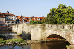 Historic bridge. In Hannoversch Münden (Germany) accross the river Werra stock photography