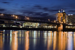 Historic bridge in Cincinnati. Ohio. Seen from Kentucky royalty free stock photography