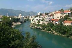 Historic bridge of Mostar. On Bosnia & Erzegovina Stock Photography