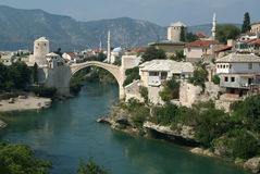 Historic bridge of Mostar. Jumper at the Historic bridge of Mostar Stock Image