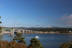 Historic bridge of Newport Oregon. This the beautiful view of an old bridge at Newport Historic Bayfront stock photo