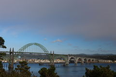 Historic bridge of Newport Oregon. This the beautiful view of an old bridge at Newport Historic Bayfront stock photos