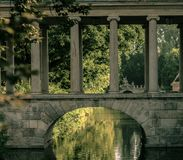 Historic bridge with pillars and arch stock photography
