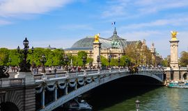 Historic bridge Pont Alexandre III over the River Seine in Paris France stock images