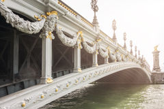 Historic bridge (Pont Alexandre III) over the River Seine in Paris, France. Royalty Free Stock Photography
