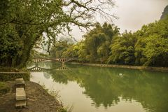 A historic bridge on the river Royalty Free Stock Photos