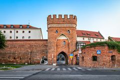 Historic Bridge Tower in Torun, Poland. Historic Bridge Tower Brama Mostowa in Torun, Poland stock photo