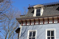 Historic brightly painted Victorian home stock image