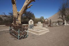 Historic Cemetery in the Atacama Desert. Historic British Cemetery from the era of nitrate mining in the Atacama Desert, in the grounds of Hacienda Tiliviche in Royalty Free Stock Photography