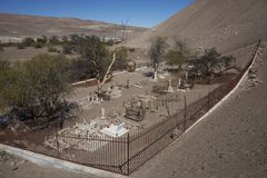Historic Cemetery in the Atacama Desert. Historic British Cemetery from the era of nitrate mining in the Atacama Desert, in the grounds of Hacienda Tiliviche in Royalty Free Stock Image