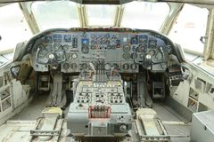 Vintage plane cockpit on show at brooklands museum, england stock photo