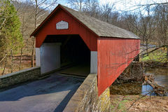 Historic Bucks County Frankenfield Covered Bridge. Historic Frankenfield covered bridge span over the scenic Tinicum Creek in Bucks County Pennsylvania stock images