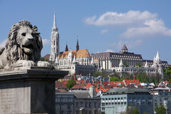Historic Budapest. View on the Buda hill with the historic Fisherman Bastion in Budapest Royalty Free Stock Photos