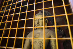 Historic Buddha images in a protective cage Stock Images
