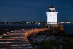 Historic Bug Lighthouse at Night stock image