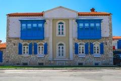 Historic Building in Alacati, Izmir, Turkey stock photos
