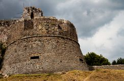 Italian castle tower on a hill stock image