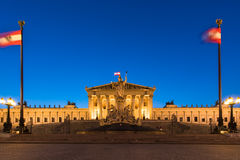 The historic building of the Austrian Parliament in Vienna at dusk, Stock Photography
