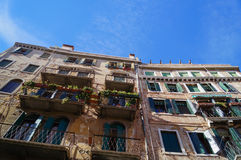 Historic building with balconies in Venice,Italy Royalty Free Stock Photography