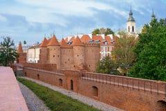 Historic building Barbakan Barbican in Warsaw in Poland Stock Photo