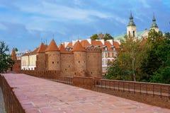 Historic building Barbakan Barbican in Warsaw in Poland Royalty Free Stock Photos