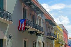 Historic building in Old San Juan, Puerto Rico. Historic building on Calle de la Fortaleza at Calle del Cristo in Old San Juan, Puerto Rico stock photos