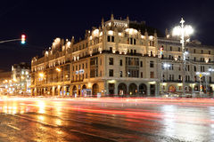 Historic building in the center of Moscow (Metropol Hotel) at night, Russia Royalty Free Stock Image