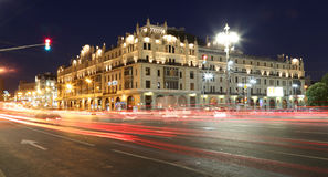 Historic building in the center of Moscow (Metropol Hotel) at night, Russia Stock Photos