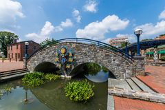 Historic Building in Downtown Frederick Maryland in the Corroll. Creek Promenade stock photography