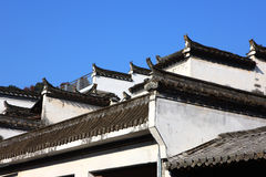 Historic building eaves in Jiangwan village Stock Image