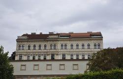 Historic Building on the edge of vltava river in Prague Czech Republic stock photos
