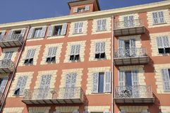 Free Historic Building Facade From Place De L` Ile De Beaute On Port Lympia In Nice Stock Photos - 150549123