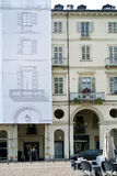 Historic building facade renovation Stock Images