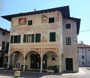 Historic building with frescoed wall. Spilimbergo, Italy Royalty Free Stock Photos