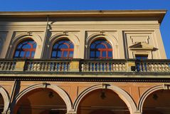 Historic building with large balcony in the city center in Bologna in Emilia Romagna (Italy) Stock Image