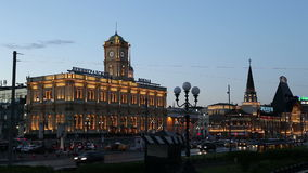 Historic building of the Leningradsky railway station and night traffic-- is one of the nine main railway stations of Moscow, Russ. Ia stock footage
