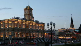 Historic building of the Leningradsky railway station and night traffic-- is one of the nine main railway stations of Moscow. Russia stock footage