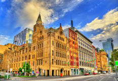 Historic building in Melbourne on Flinders Street - Australia. Victoria royalty free stock photography