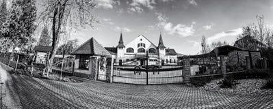 Historic building of national stud farm, Topolcianky. Slovak republic. Architectural theme. Travel destination. Panoramic photo. Black and white photo royalty free stock photos