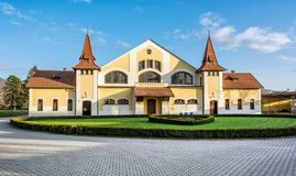 Historic building of national stud farm, Topolcianky, Slovakia. Historic building of national stud farm, Topolcianky, Slovak republic. Architectural theme royalty free stock images