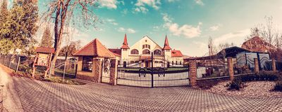 Historic building of national stud farm, Topolcianky, Slovakia. Historic building of national stud farm, Topolcianky, Slovak republic. Architectural theme royalty free stock photo