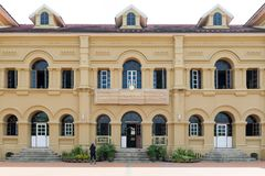 Historic building of Neo-Palladian architecture used for Queen Sirikit National Library, Nakhon Phanom, Thailand. Nakhon Phanom, Thailand - May 2017: Historic Royalty Free Stock Image