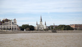 Historic building in New Orleans. Historic building St. Louis Cathedral has seen from Mississippi River New Orleans, Louisiana USA Royalty Free Stock Photos