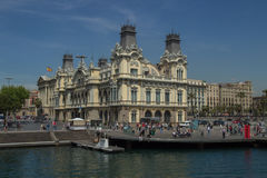 Historic building at waterfront of Port of Barcelona Royalty Free Stock Photo