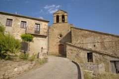 Historic building in Pyrenees of Spain, Escola de Postguerra de Castellar de la Ribera Royalty Free Stock Photography