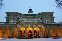 Historic building Regentenbau at Christmas by dusk Royalty Free Stock Photography