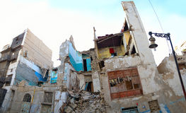 Historic building semi-destructive. At center of city of jeddah at afternoon Stock Images
