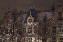 Historic building in the snow. At night, the Hague stock photos