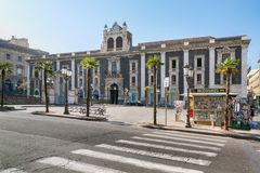 Historic building on the square Stesicoro in Catania, Sicily, Royalty Free Stock Photos